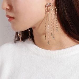 NEW gold moon&star chandelier ear jackets